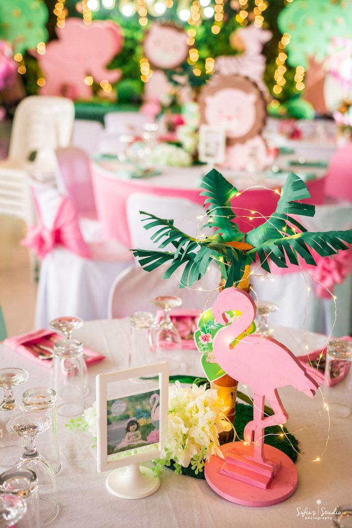 Flamingo Guest Table from a Tropical Safari Birthday Party on Kara's Party Ideas | KarasPartyIdeas.com (18)