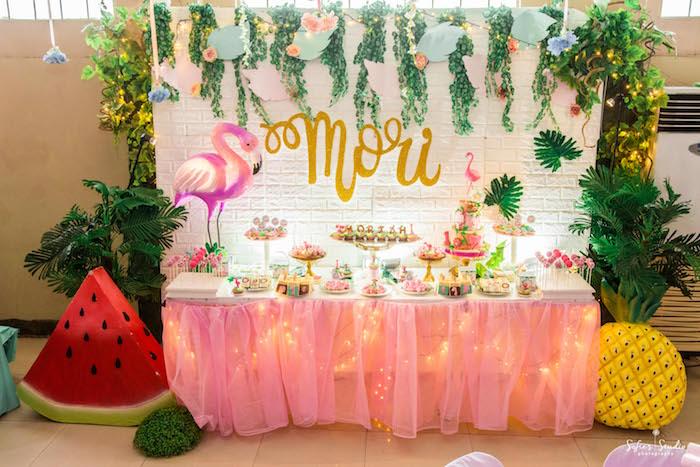 Flamingo Themed Sweet Table from a Tropical Safari Birthday Party on Kara's Party Ideas | KarasPartyIdeas.com (14)