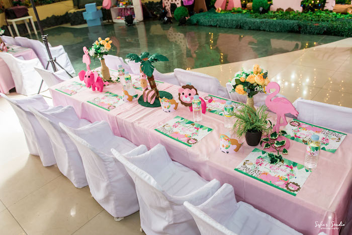 Safari Themed Guest Table from a Tropical Safari Birthday Party on Kara's Party Ideas | KarasPartyIdeas.com (13)