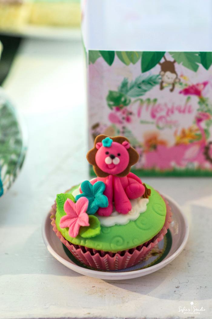 Pink Lion Cupcake from a Tropical Safari Birthday Party on Kara's Party Ideas | KarasPartyIdeas.com (7)