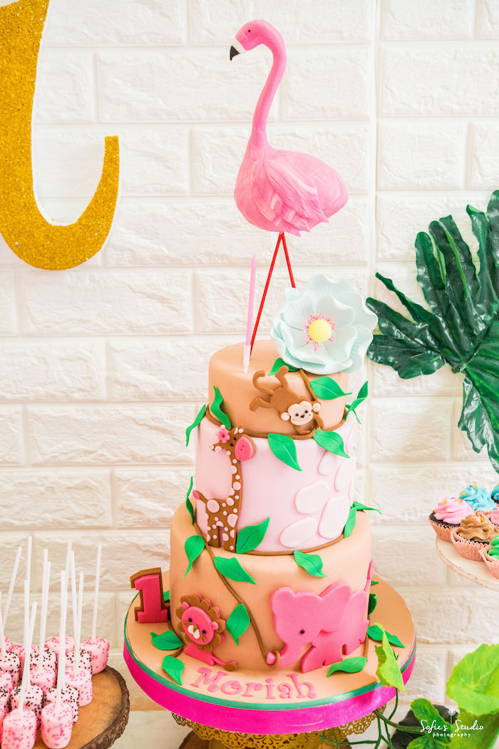 Girly Safari Cake from a Tropical Safari Birthday Party on Kara's Party Ideas | KarasPartyIdeas.com (28)