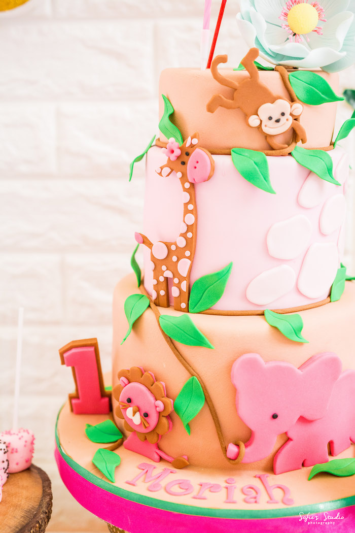 Safari Animal Cake Detail from a Tropical Safari Birthday Party on Kara's Party Ideas | KarasPartyIdeas.com (27)