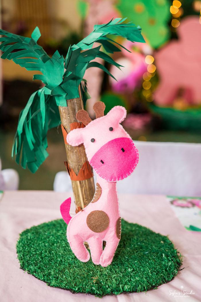 Felt Giraffe Centerpiece from a Tropical Safari Birthday Party on Kara's Party Ideas | KarasPartyIdeas.com (26)