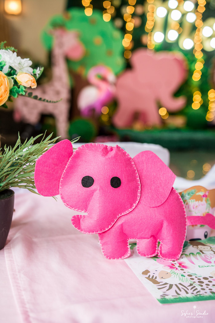 Felt Elephant Table Centerpiece from a Tropical Safari Birthday Party on Kara's Party Ideas | KarasPartyIdeas.com (25)