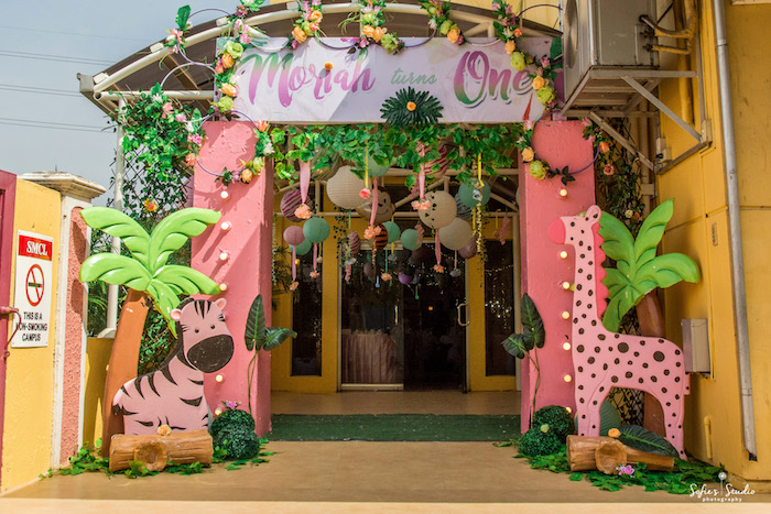 Safari Party Entrance from a Tropical Safari Birthday Party on Kara's Party Ideas | KarasPartyIdeas.com (24)