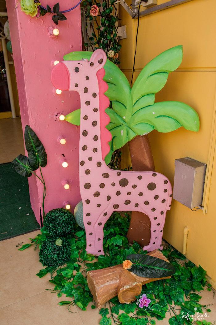 Giraffe Standee from a Tropical Safari Birthday Party on Kara's Party Ideas | KarasPartyIdeas.com (23)