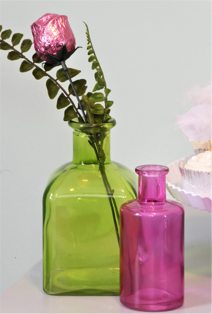 Vases & Rose from a Spring Swan Birthday Party on Kara's Party Ideas | KarasPartyIdeas.com