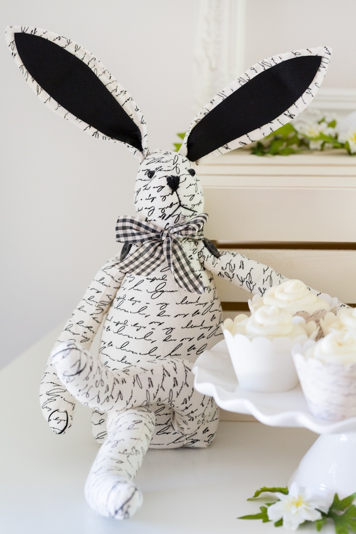 Vintage Black and White Bunny from a Monochromatic Easter Party via Kara's Party Ideas | KarasPartyIdeas.com