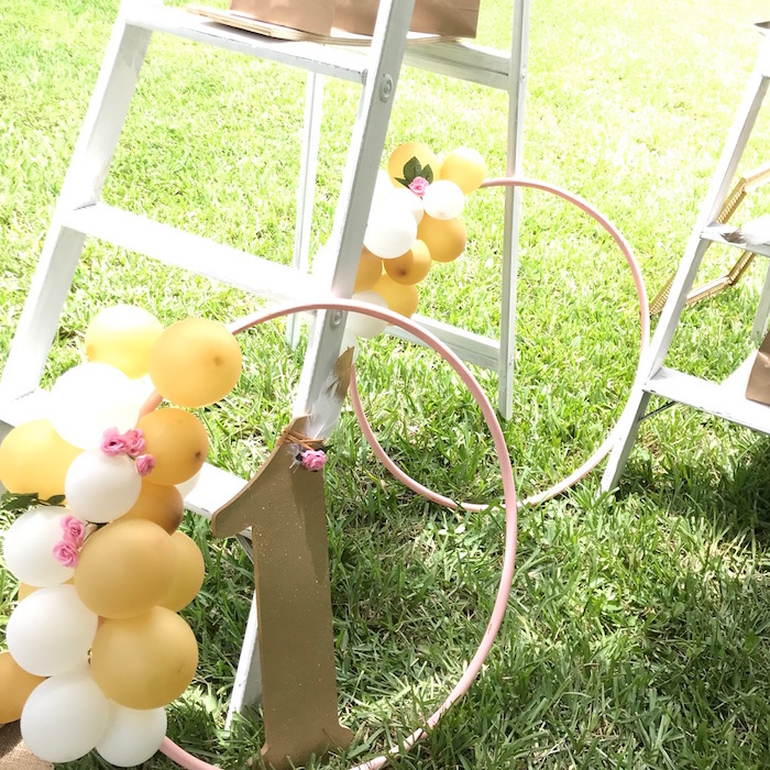Balloon Hoops from a Vintage Boho Birthday Party on Kara's Party Ideas | KarasPartyIdeas.com (10)