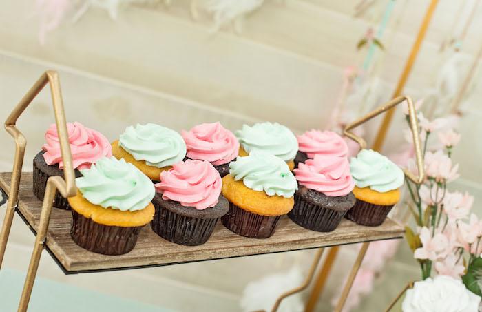 Boho Cupcakes atop an Arrow Dessert Tray from a Vintage Boho Birthday Party on Kara's Party Ideas   KarasPartyIdeas.com (19)