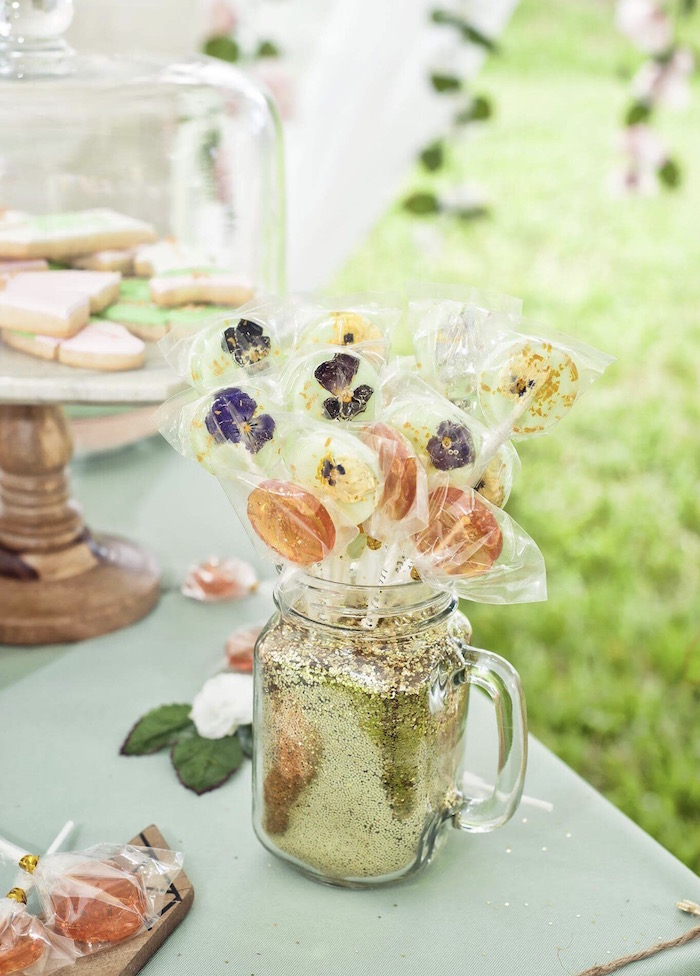 Flower Lollipops from a Vintage Boho Birthday Party on Kara's Party Ideas | KarasPartyIdeas.com (18)