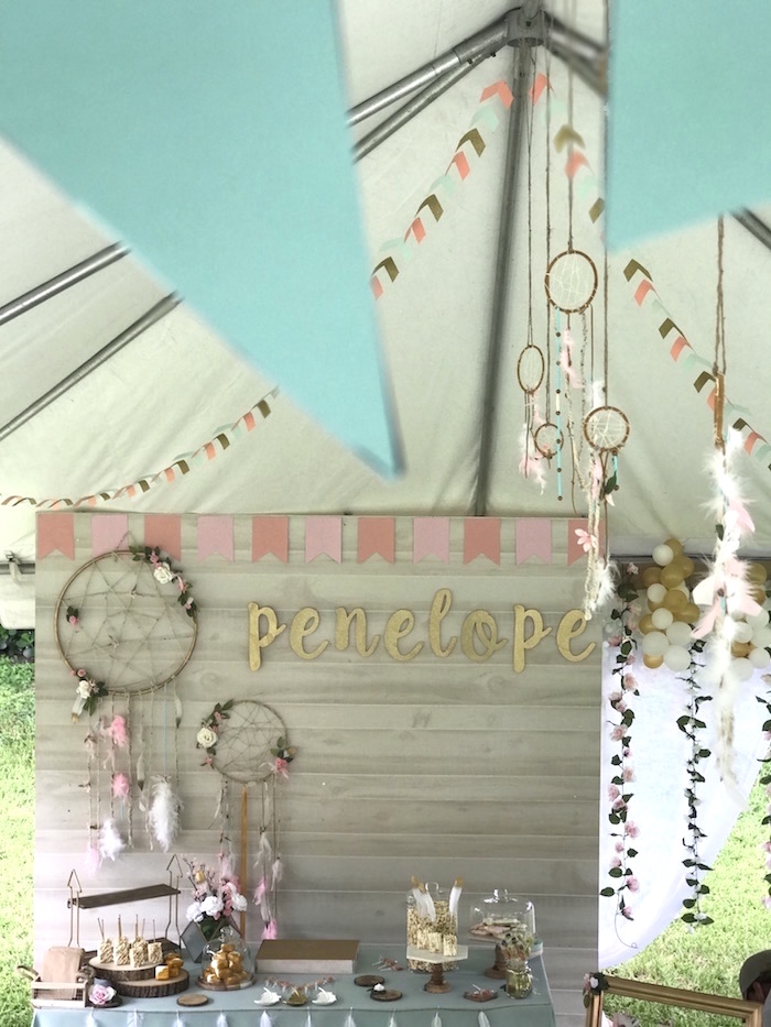 Bohemian Dessert Table + Tentscape from a Vintage Boho Birthday Party on Kara's Party Ideas | KarasPartyIdeas.com (17)