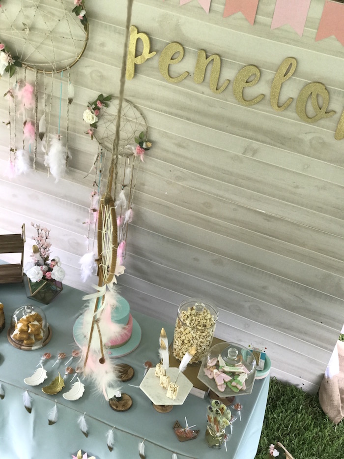 Bohemian Dessert Table from a Vintage Boho Birthday Party on Kara's Party Ideas | KarasPartyIdeas.com (14)