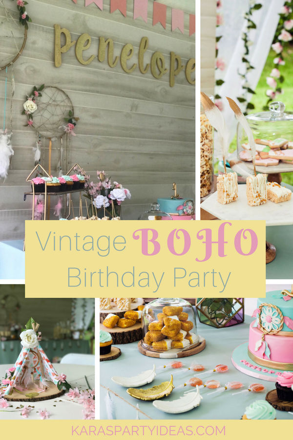 Vintage Boho Birthday Party via Kara's Party Ideas - KarasPartyIdeas.com
