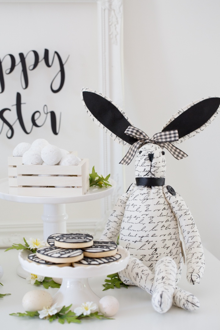 Vintage Bunny from a Monochromatic Easter Party via Kara's Party Ideas | KarasPartyIdeas.com