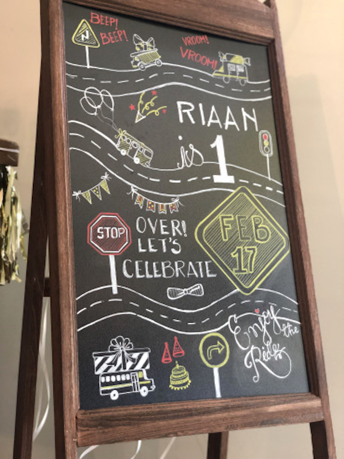 Street Chalkboard Sign from a Wheels on the Bus Birthday Party on Kara's Party Ideas | KarasPartyIdeas.com (5)
