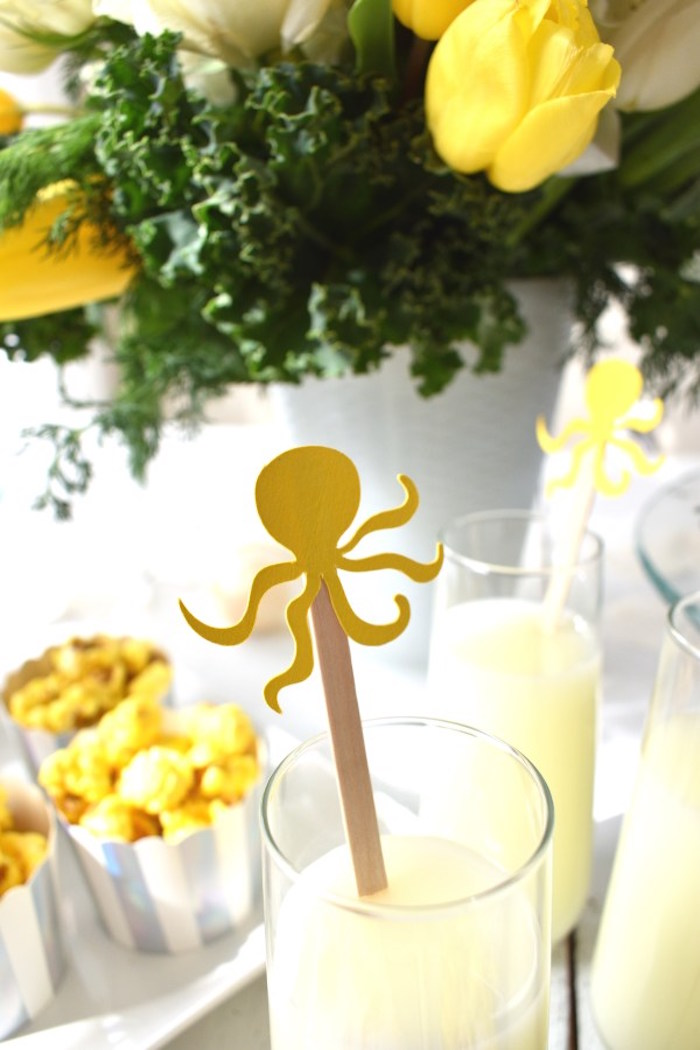 Octopus Drink Stirrer Stick from a Whimsical Under the Sea Soiree on Kara's Party Ideas | KarasPartyIdeas.com (12)