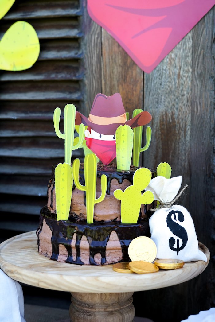 Chocolate Drip Cake from a Wild West Cowboy Party on Kara's Party Ideas | KarasPartyIdeas.com (12)