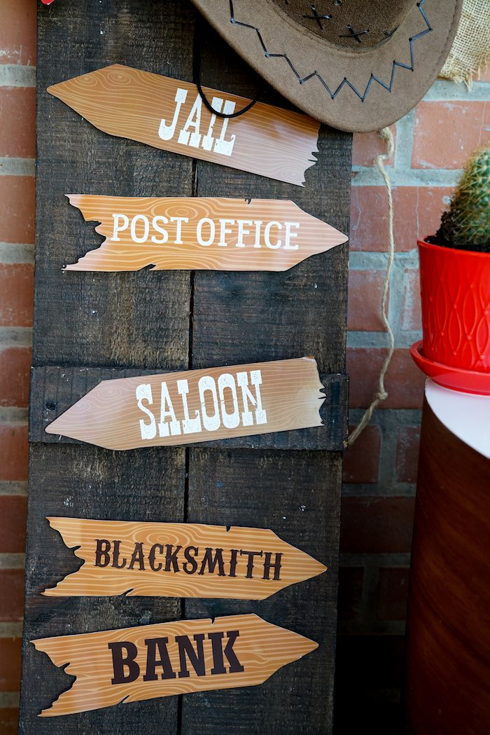 Western Directional Sign from a Wild West Cowboy Party on Kara's Party Ideas | KarasPartyIdeas.com (6)