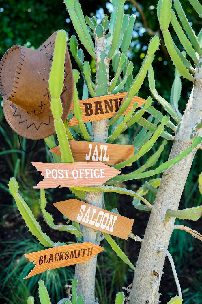 Cactus Directional Sign from a Wild West Cowboy Party on Kara's Party Ideas | KarasPartyIdeas.com (23)