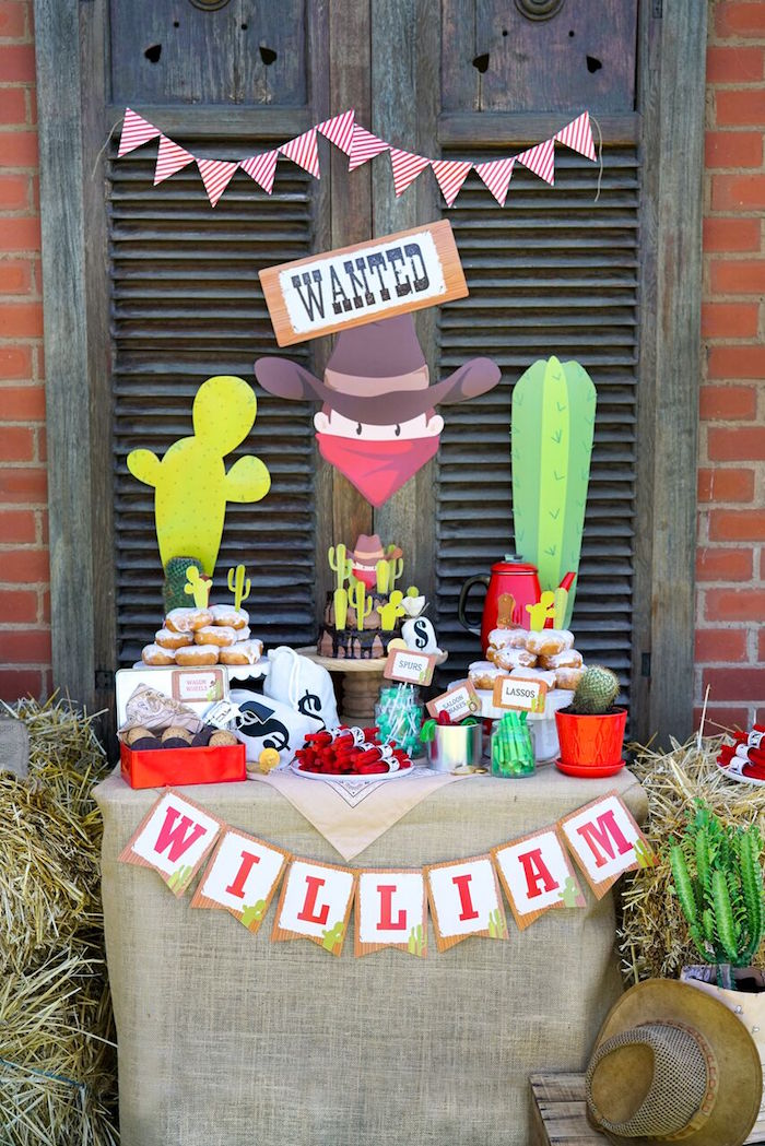 Western Themed Dessert Table from a Wild West Cowboy Party on Kara's Party Ideas | KarasPartyIdeas.com