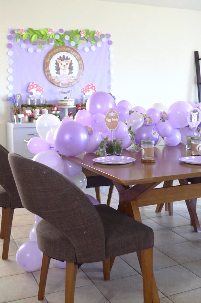 Guest Table from a Woodland Hedgehog Birthday Party on Kara's Party Ideas | KarasPartyIdeas.com (19)