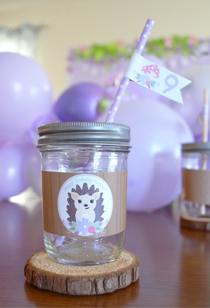 Hedgehog Mason Jar Cup from a Woodland Hedgehog Birthday Party on Kara's Party Ideas | KarasPartyIdeas.com (18)