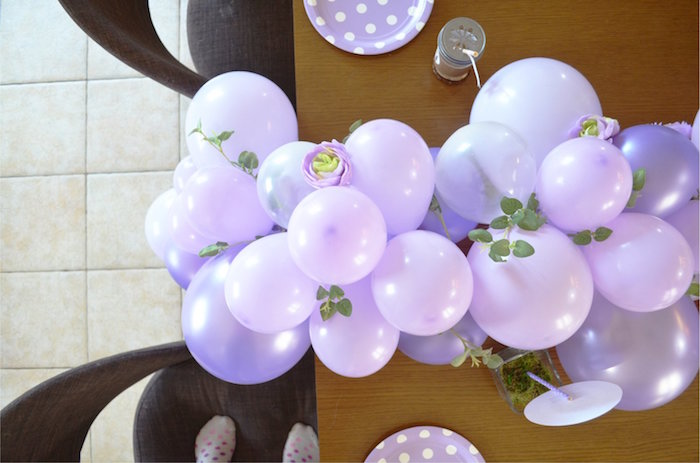 Balloon Table Runner from a Woodland Hedgehog Birthday Party on Kara's Party Ideas | KarasPartyIdeas.com (17)
