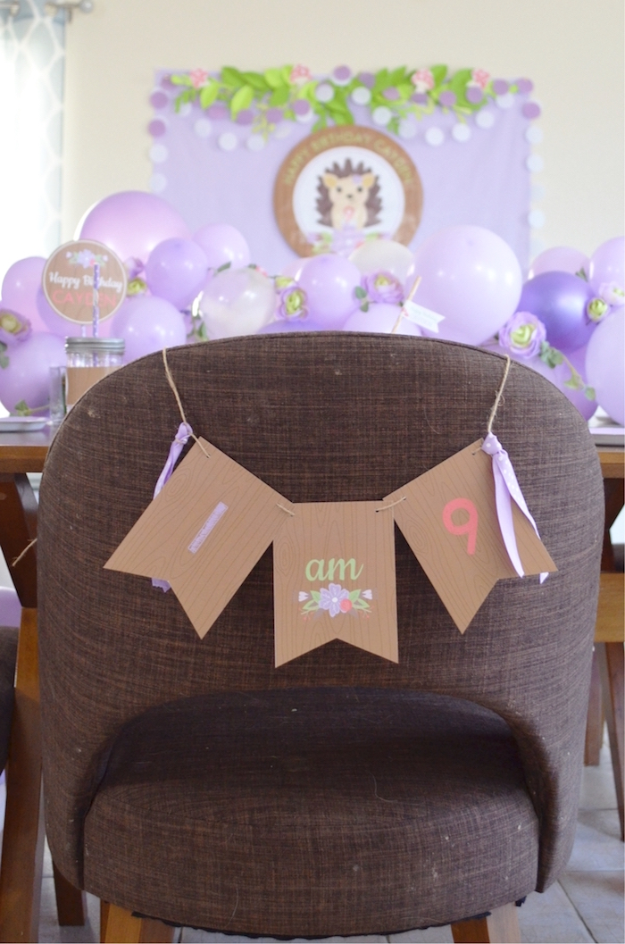 Chair Banner from a Woodland Hedgehog Birthday Party on Kara's Party Ideas | KarasPartyIdeas.com (16)