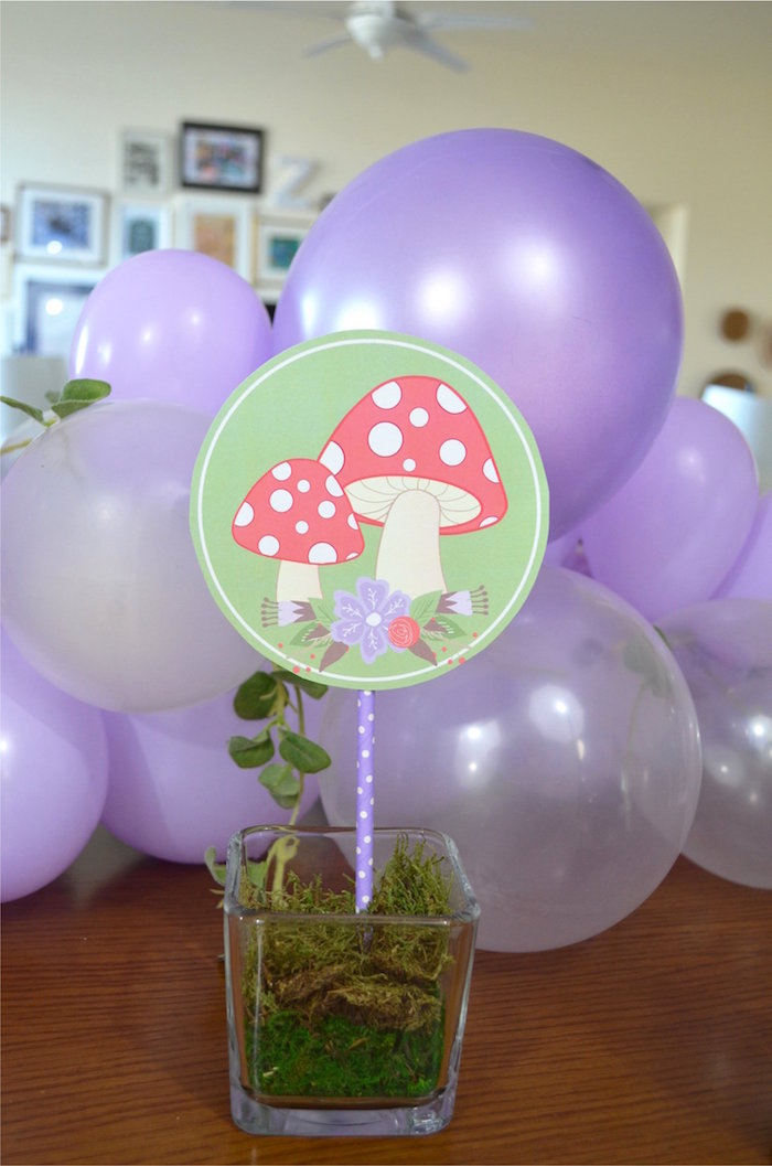 Mushroom Table Centerpiece from a Woodland Hedgehog Birthday Party on Kara's Party Ideas | KarasPartyIdeas.com (15)