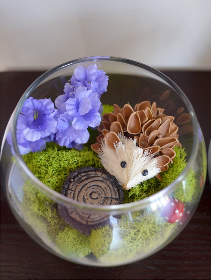 Hedgehog Terrarium from a Woodland Hedgehog Birthday Party on Kara's Party Ideas | KarasPartyIdeas.com (11)