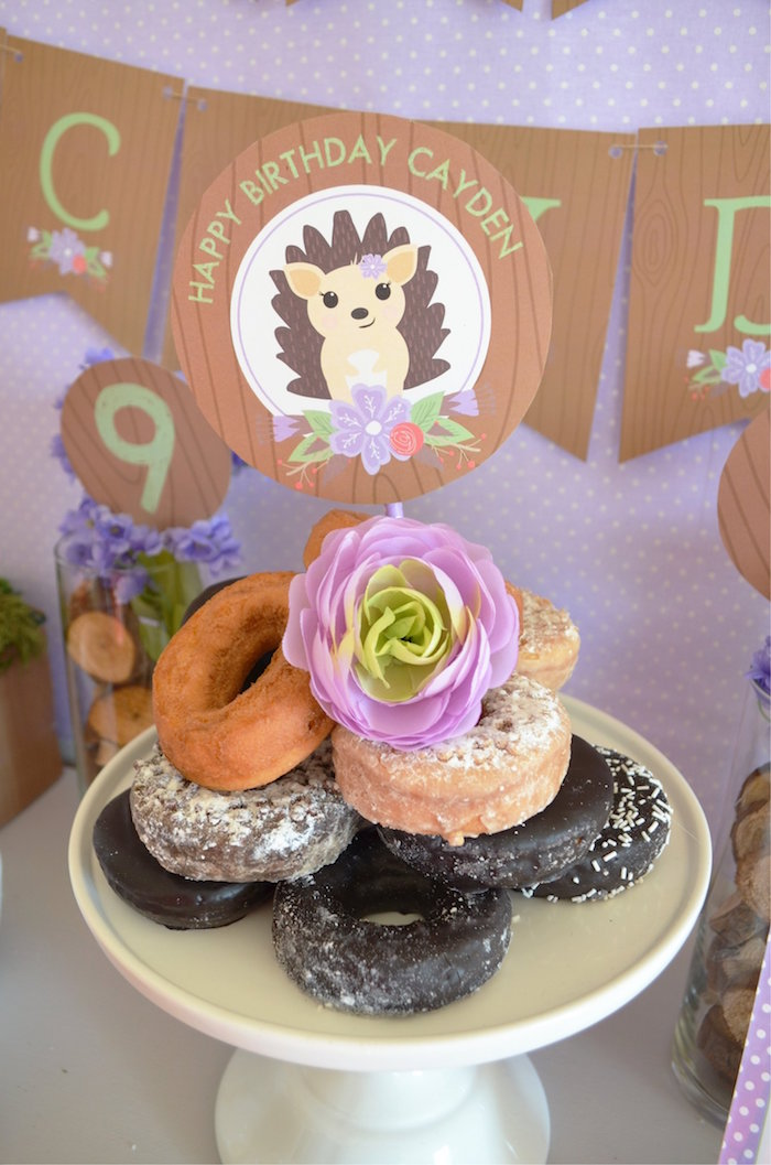 Hedgehog doughnuts from a Woodland Hedgehog Birthday Party on Kara's Party Ideas | KarasPartyIdeas.com (7)