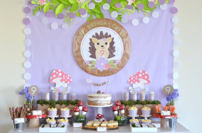 Hedgehog Dessert Table from a Woodland Hedgehog Birthday Party on Kara's Party Ideas | KarasPartyIdeas.com (5)