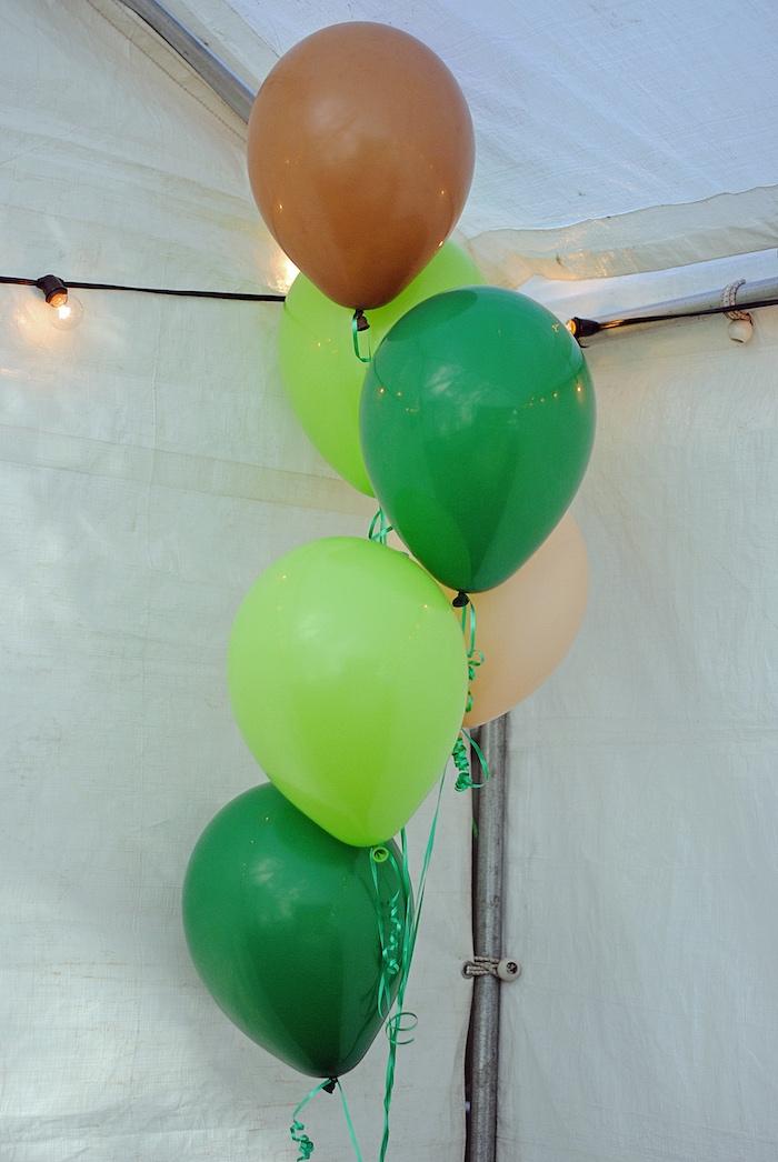 Balloon Bunch from a Woodland Teddy Bear Camping Party on Kara's Party Ideas   KarasPartyIdeas.com (18)