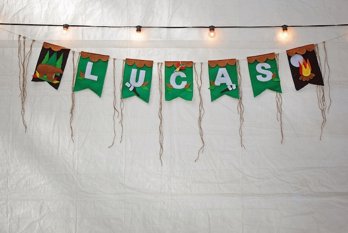 Name Banner from a Woodland Teddy Bear Camping Party on Kara's Party Ideas | KarasPartyIdeas.com (17)