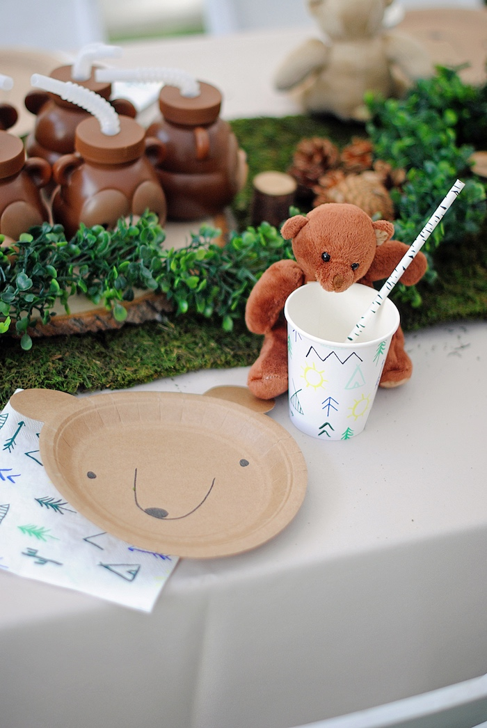 Teddy Bear Table Setting from a Woodland Teddy Bear Camping Party on Kara's Party Ideas | KarasPartyIdeas.com (16)