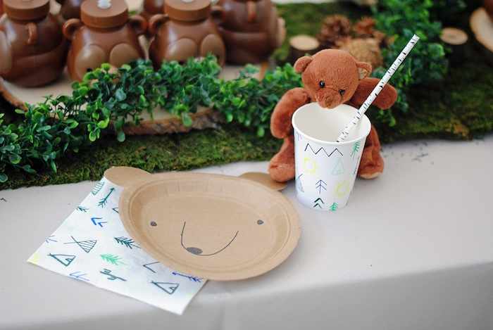 Teddy Bear Table Setting from a Woodland Teddy Bear Camping Party on Kara's Party Ideas | KarasPartyIdeas.com (15)