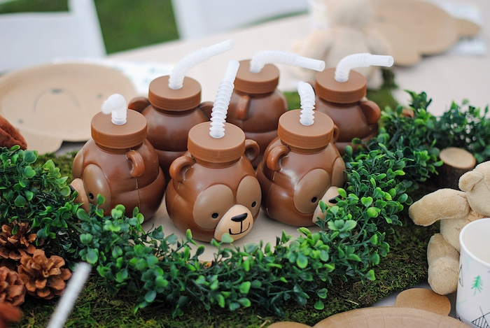 Bear Cups from a Woodland Teddy Bear Camping Party on Kara's Party Ideas | KarasPartyIdeas.com (12)
