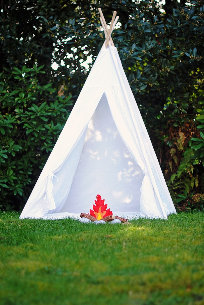 Teepee Tent from a Woodland Teddy Bear Camping Party on Kara's Party Ideas | KarasPartyIdeas.com (10)