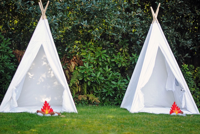Teepee Tents from a Woodland Teddy Bear Camping Party on Kara's Party Ideas | KarasPartyIdeas.com (9)