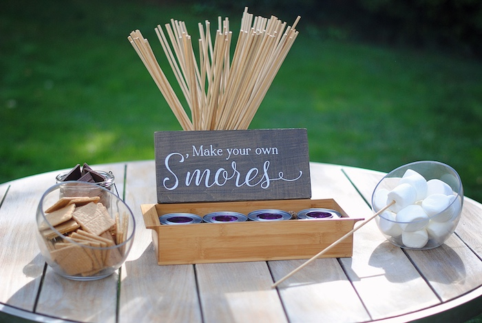 S'more Bar from a Woodland Teddy Bear Camping Party on Kara's Party Ideas | KarasPartyIdeas.com (27)