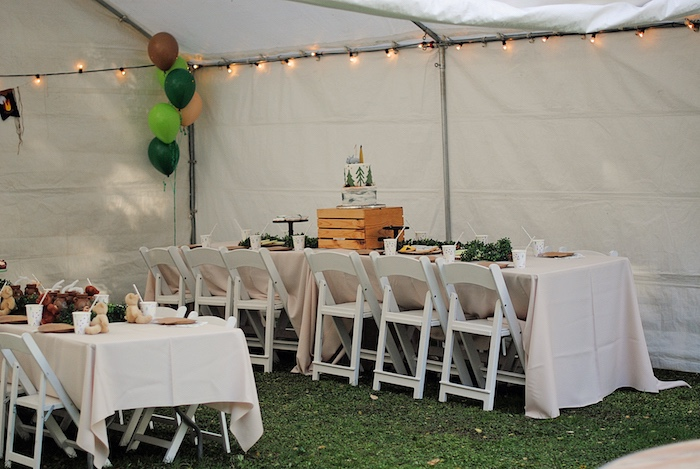 Tentscape +Guest Tables from a Woodland Teddy Bear Camping Party on Kara's Party Ideas | KarasPartyIdeas.com (26)