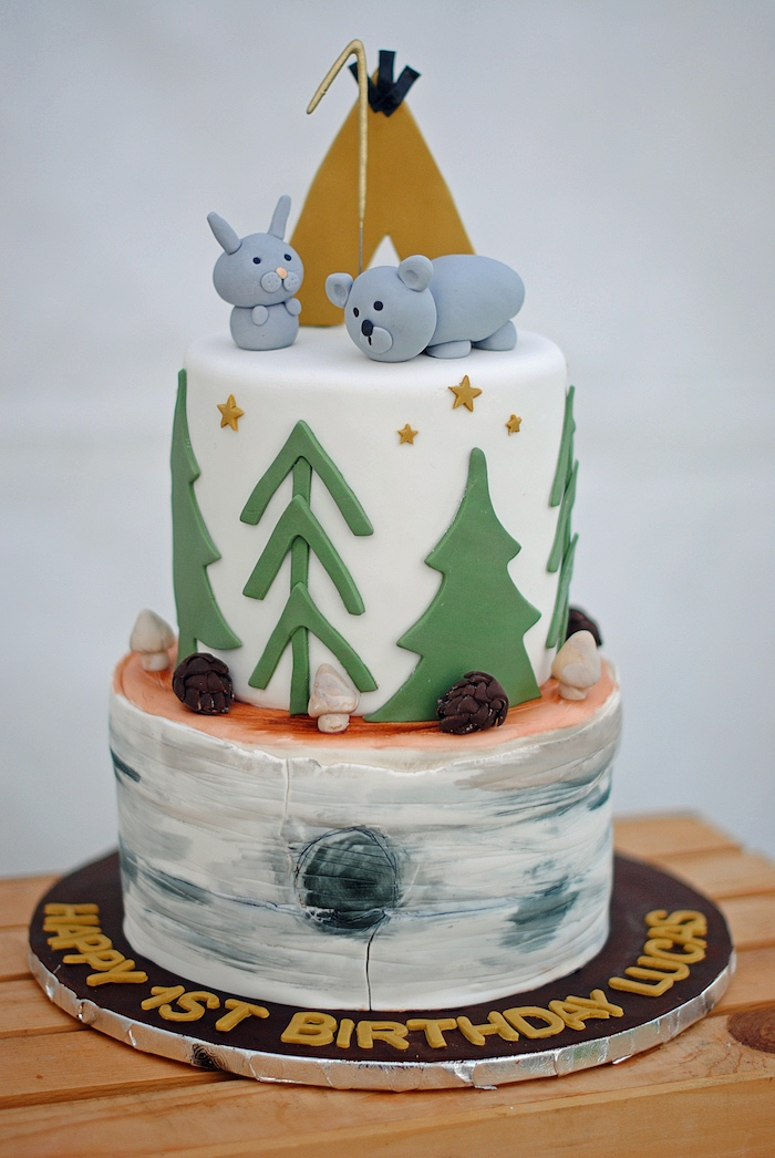 Camping Themed Cake from a Woodland Teddy Bear Camping Party on Kara's Party Ideas | KarasPartyIdeas.com (24)