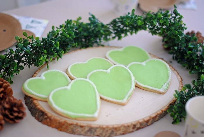 Green Heart Cookies from a Woodland Teddy Bear Camping Party on Kara's Party Ideas | KarasPartyIdeas.com (23)