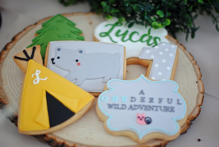 Camping Cookies from a Woodland Teddy Bear Camping Party on Kara's Party Ideas   KarasPartyIdeas.com (22)