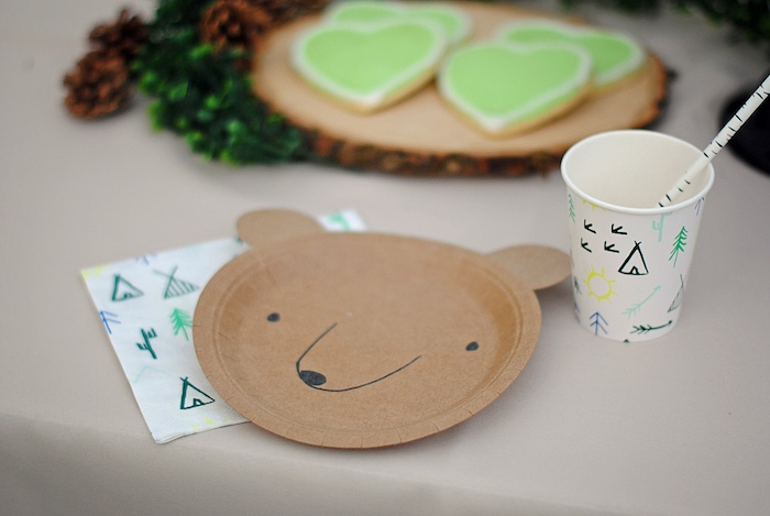 Teddy Bear Table Setting from a Woodland Teddy Bear Camping Party on Kara's Party Ideas | KarasPartyIdeas.com (19)