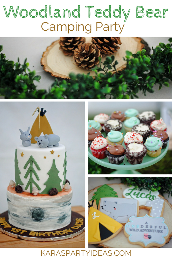 Woodland Teddy Bear Camping Party via KarasPartyIdeas - KarasPartyIdeas.com