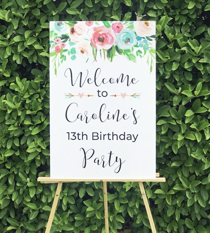 Welcome Sign from a Boho Chic 13th Birthday Party via Kara's Party Ideas | KarasPartyIdeas.com