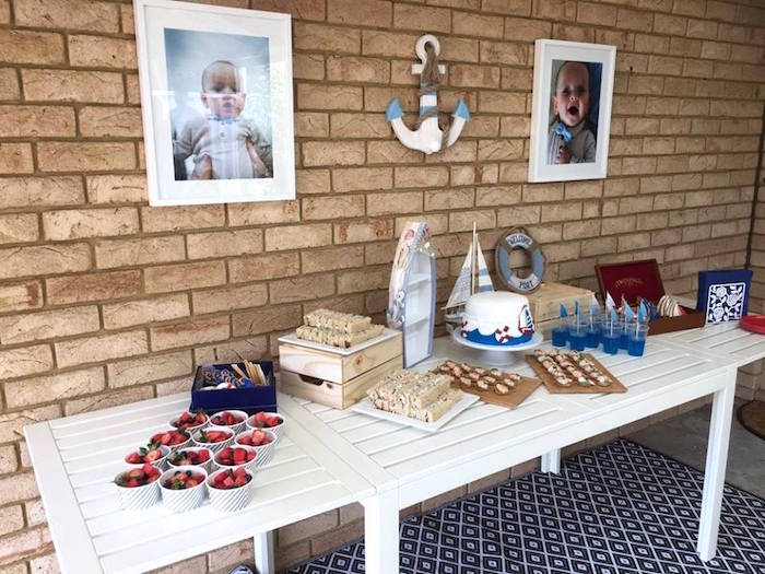"Nautical Dessert Table from ""Ahoy it's a Boy"" Nautical Party on Kara's Party Ideas 