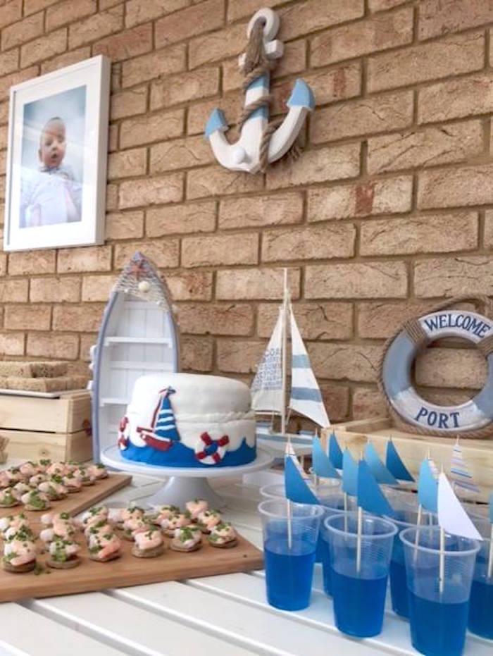 "Nautical Cake Table from ""Ahoy it's a Boy"" Nautical Party on Kara's Party Ideas | KarasPartyIdeas.com (11)"